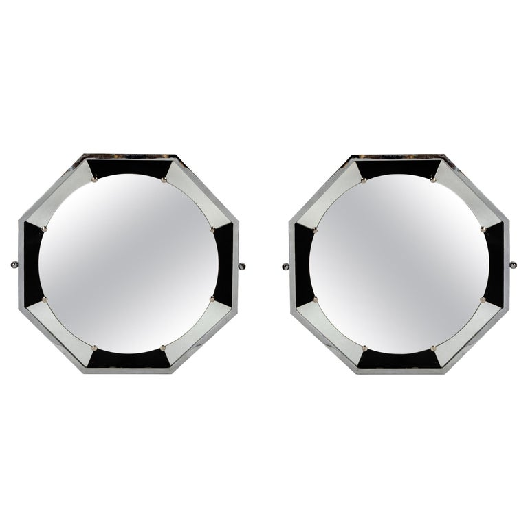 Pair of Chrome Metal Mirrors, Art Deco Period, France, circa 1940 For Sale