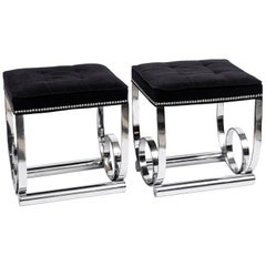 Pair of Chrome Metal Stools, Art Deco Period, France, circa 1940