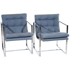 Pair of Chrome Milo Baughman Style Armchairs