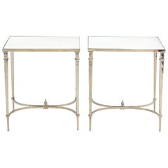 Pair of Chrome Mirror Top End Tables