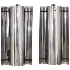 Pair of Chrome Modernist Sconces, Italy, France, circa 1970