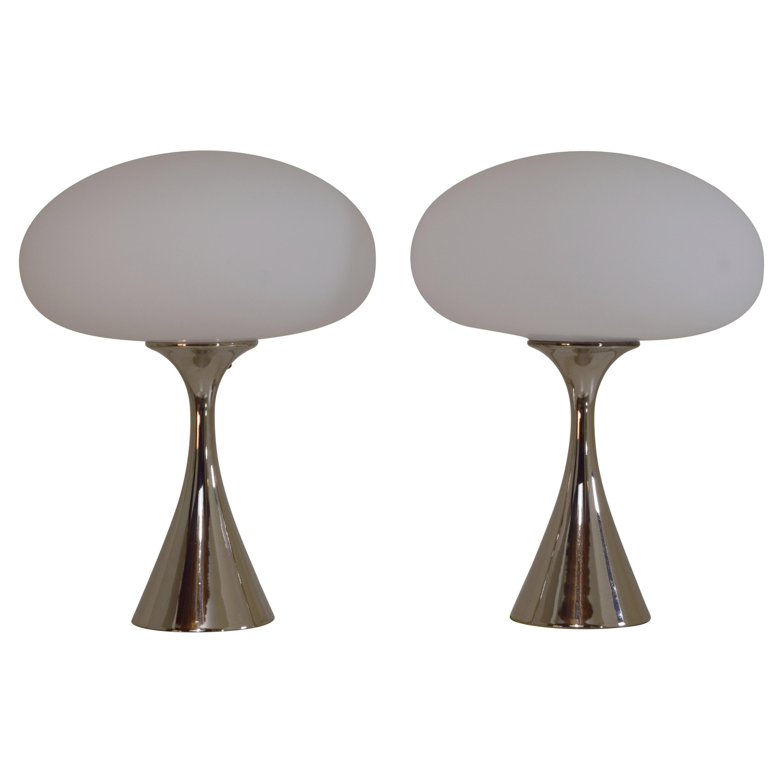 Pair of Chrome Mushroom Table Lamps by Laurel