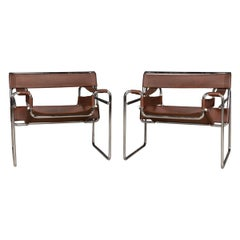 Pair of Chrome Plated & Leather Wassily Chairs, circa 1980