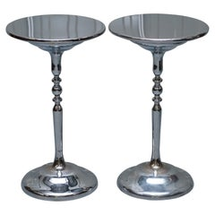 Pair of Chrome-Plated Vintage Side Tables on Solid Oak Bases Part of Large Suite
