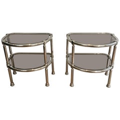 Pair of Chrome Rounded Side Tables with Smoked Glass Shelves, French, circa 1970