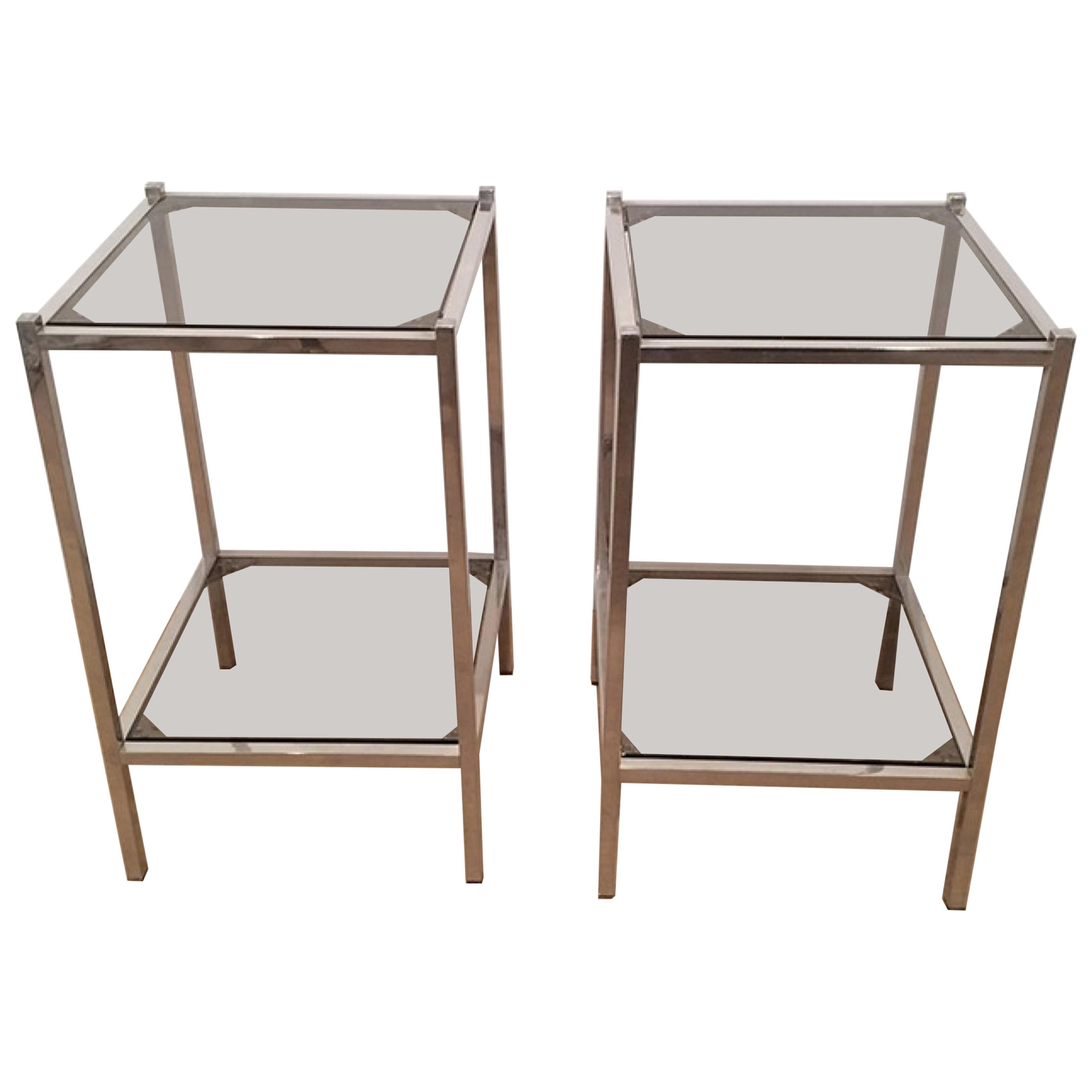 Pair of Chrome Side Tables, circa 1970