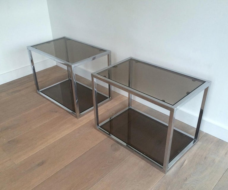 Pair of Chrome Side Tables with Smoked Glasses, circa 1970 For Sale 4