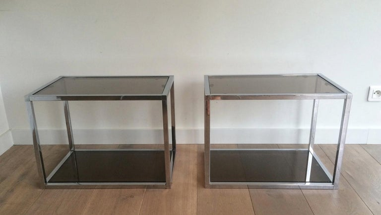 Mid-Century Modern Pair of Chrome Side Tables with Smoked Glasses, circa 1970 For Sale