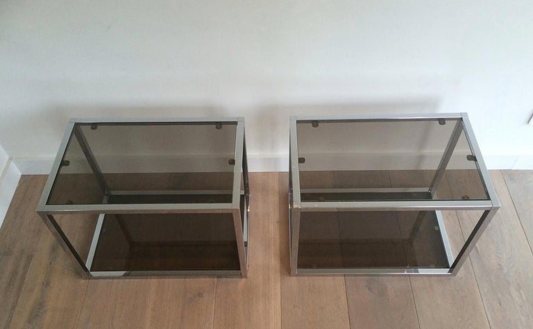 French Pair of Chrome Side Tables with Smoked Glasses, circa 1970 For Sale