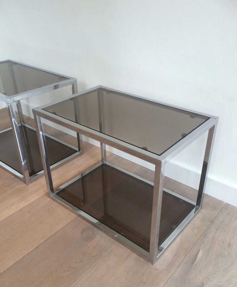 Bronzed Pair of Chrome Side Tables with Smoked Glasses, circa 1970 For Sale