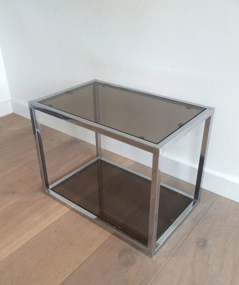 Pair of Chrome Side Tables with Smoked Glasses, circa 1970 In Good Condition For Sale In Marcq-en-Baroeul, FR