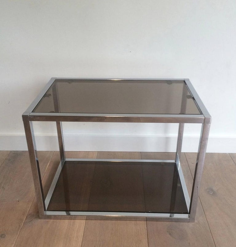 Late 20th Century Pair of Chrome Side Tables with Smoked Glasses, circa 1970 For Sale