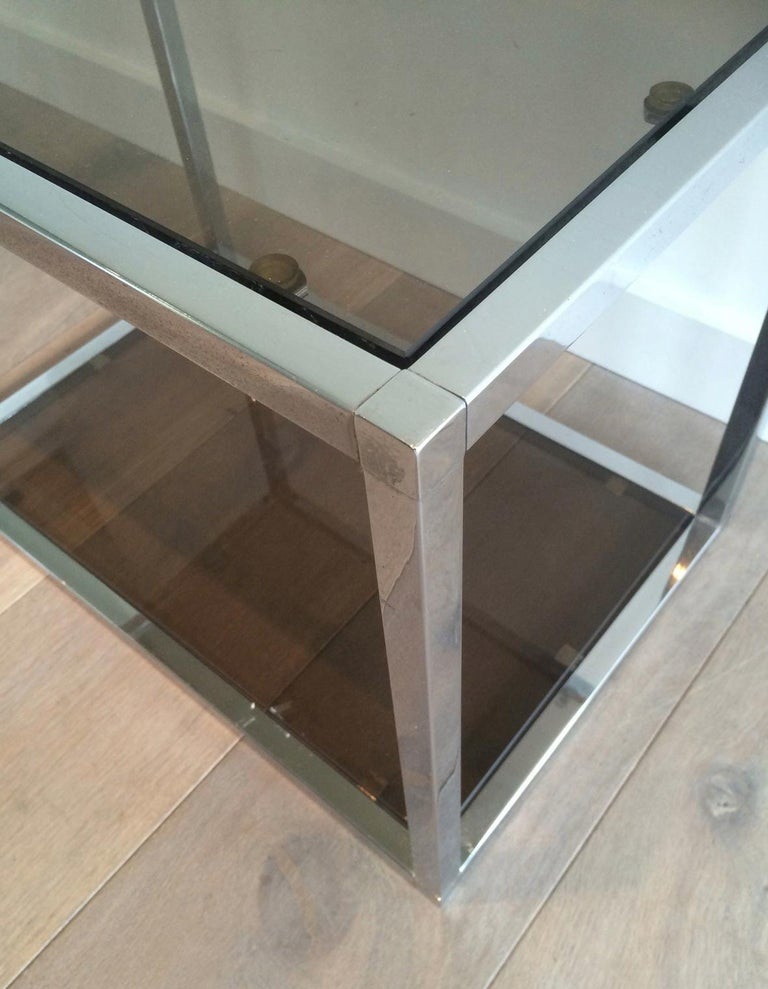Pair of Chrome Side Tables with Smoked Glasses, circa 1970 For Sale 1