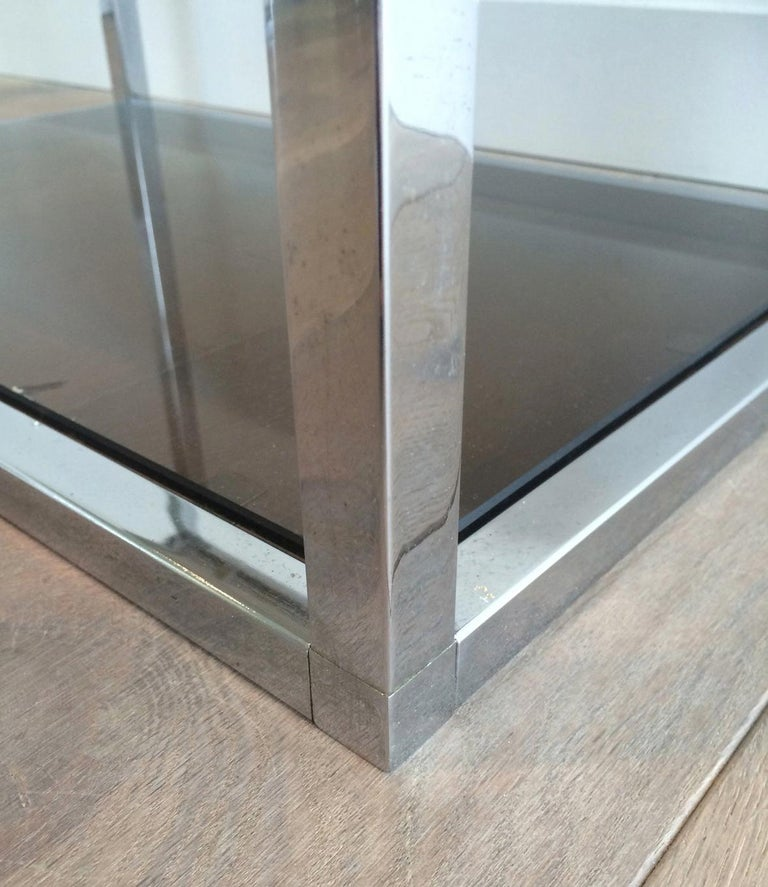 Pair of Chrome Side Tables with Smoked Glasses, circa 1970 For Sale 2