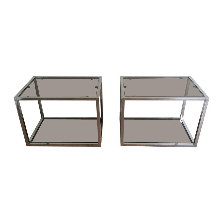 Pair of Chrome Side Tables with Smoked Glasses, circa 1970 For Sale