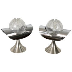 Pair of Chrome, Steel and Glass Table Lamp, Italy, 1970s