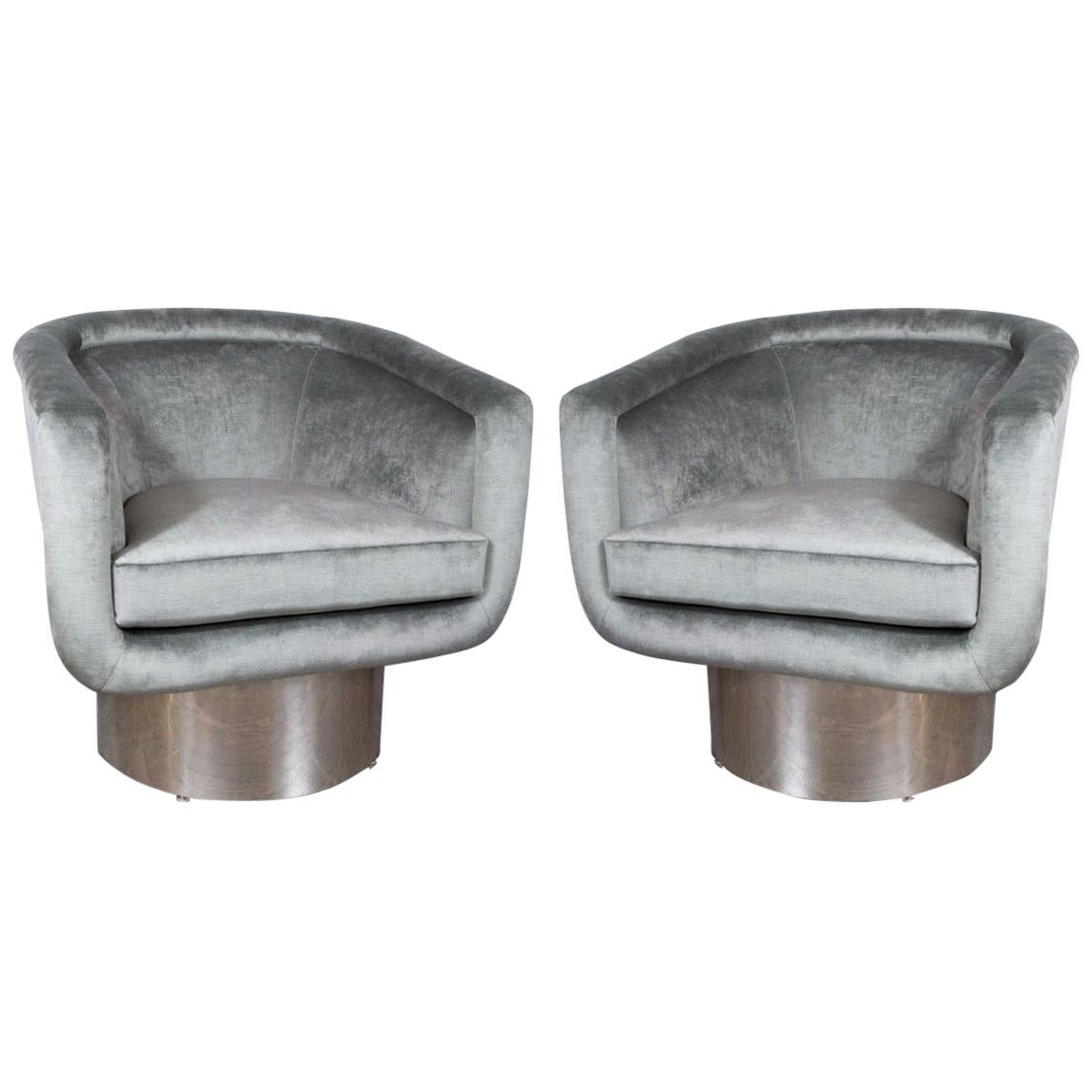 Pair of Chrome Swivel Chairs by Leon Rosen for Pace