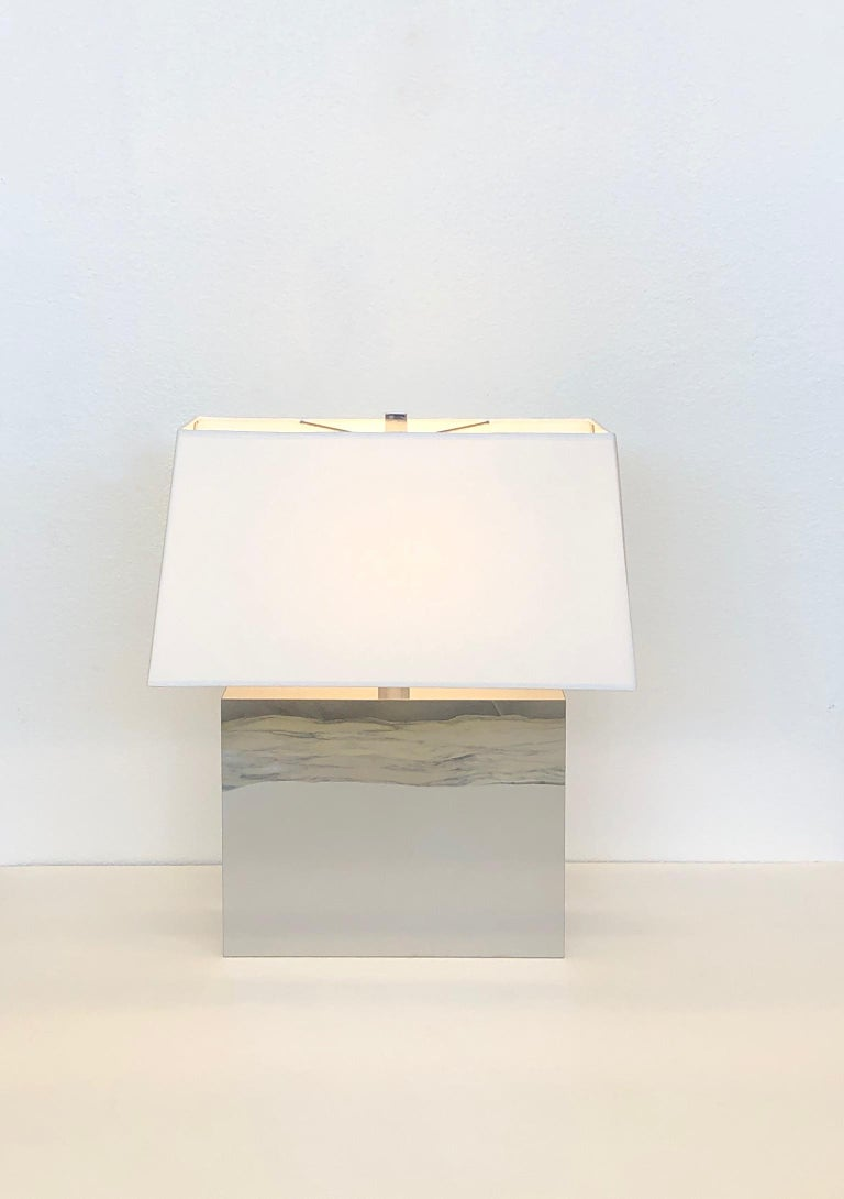 Modern Pair of Chrome Table Lamps by Kovacs  For Sale