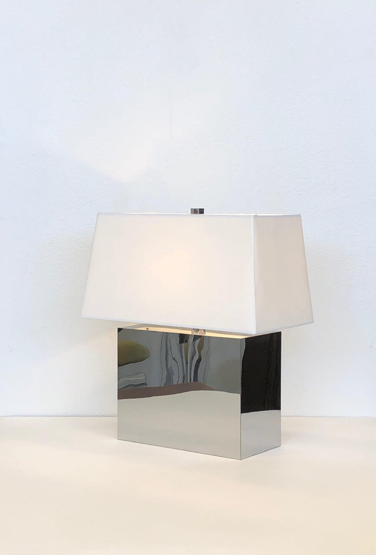 Polished Pair of Chrome Table Lamps by Kovacs  For Sale
