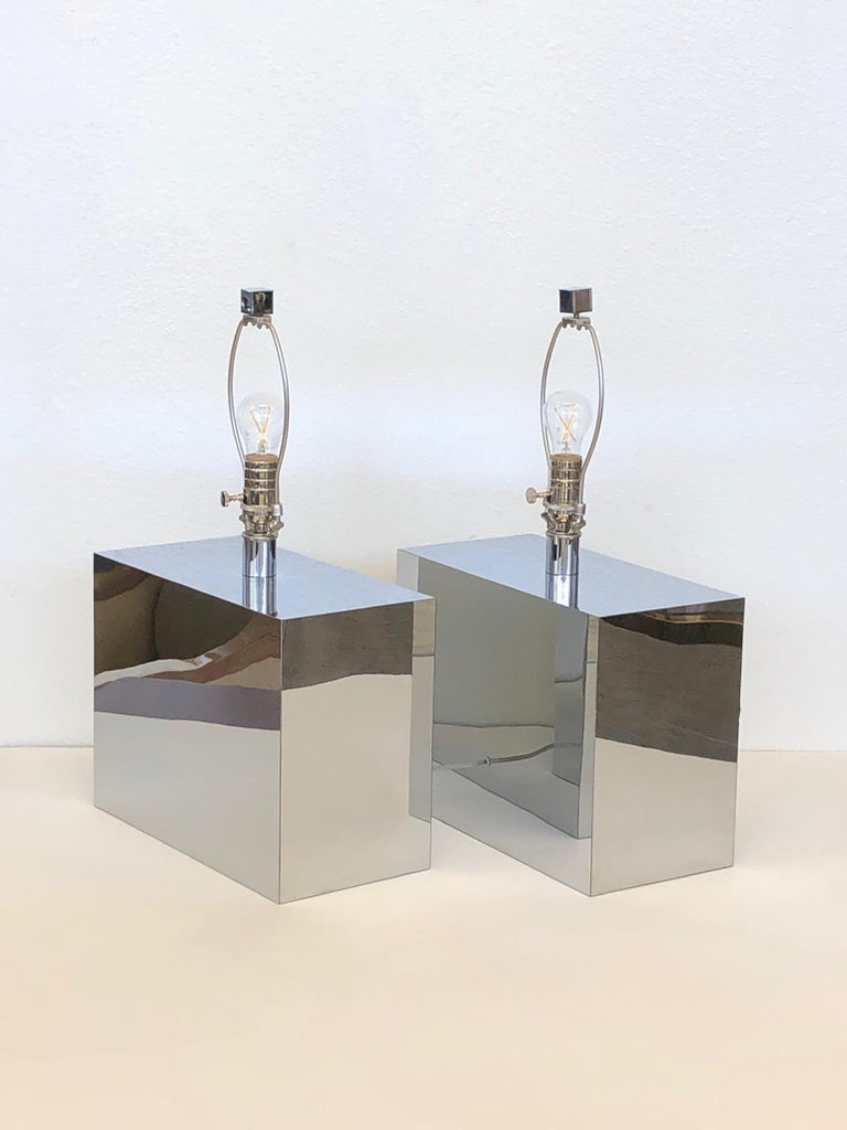 Late 20th Century Pair of Chrome Table Lamps by Kovacs  For Sale