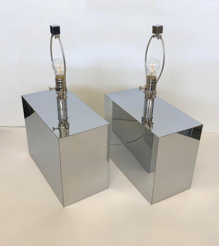Pair of Chrome Table Lamps by Kovacs  For Sale 1