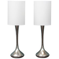 Pair of Chrome Table Lamps by Laurel