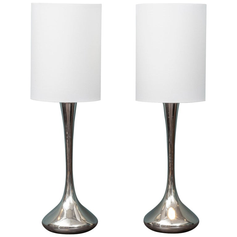Pair of Chrome Table Lamps by Laurel For Sale