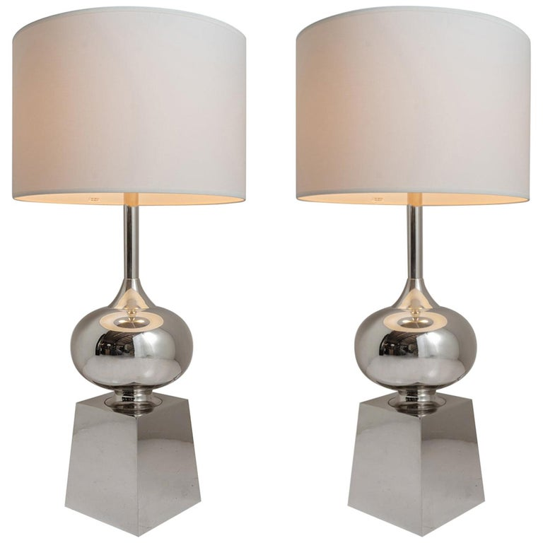 Pair of Chrome Table Lamps For Sale