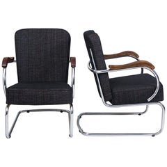 Pair of Chrome Tubular Armchairs by Kovona, New Upholstery, 1960s