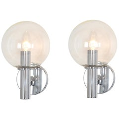 Pair of Chrome Wall Lights and Glass, by Kaiser, Germany, 1960s