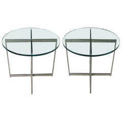 Pair of Chrome X-Base Round Glass Top Side Tables after Mies van der Rohe
