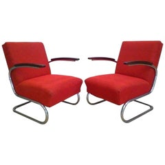 Pair of Chromed Armchair Bauhaus, Műcke & Meider, 1930s