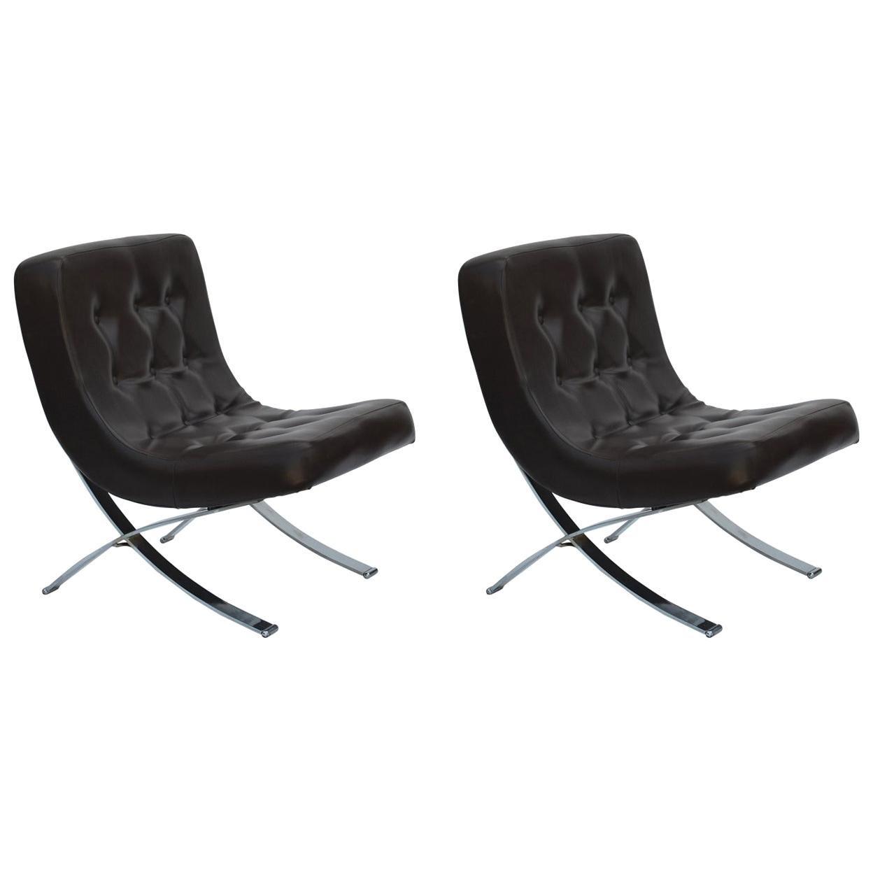 Pair of Chromed Italian 1970s Slipper Chairs