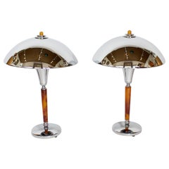 Pair of Chromed Metal and Bakelite Art Deco Table Lights