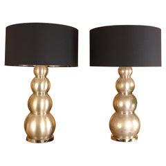 Pair of Chromed Metal Lamps