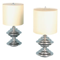 Pair of Chromed Metal Table Lamp
