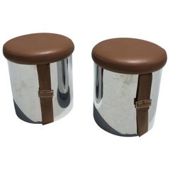 Pair of Chromed Mid-Century Modern Stools Ottomans