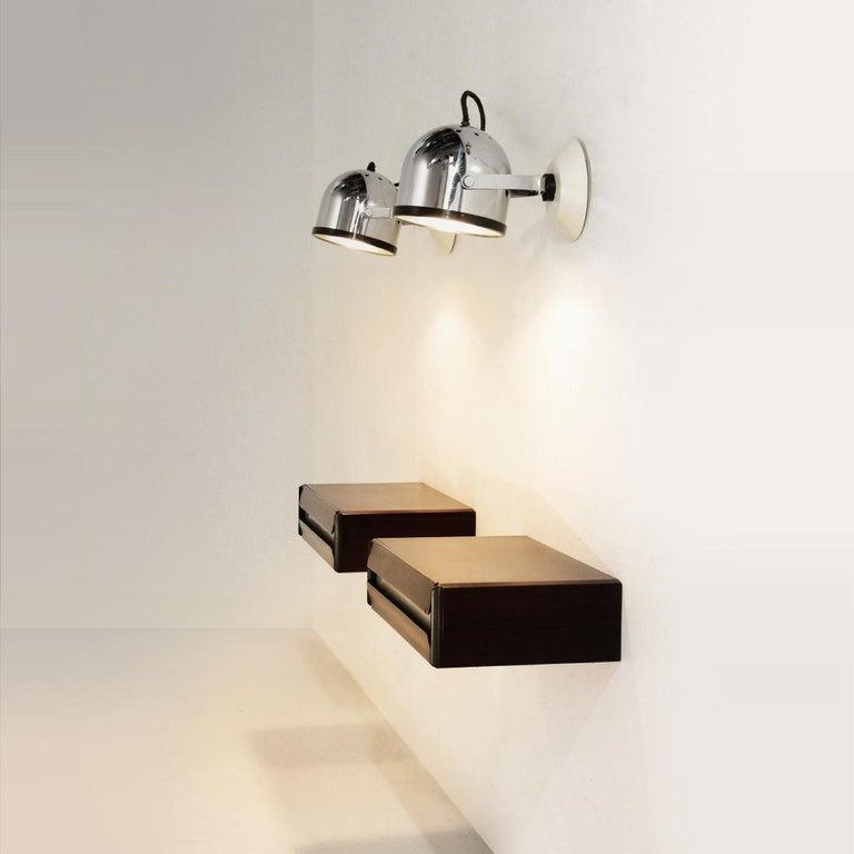 Pair of Chromed Wall Lights by Gae Aulenti and Livio Castiglioni for Stilnovo, 1 6