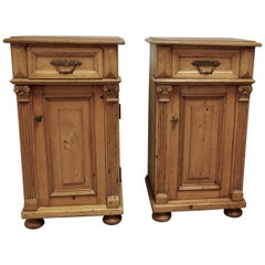 Pair of Chunky Carved Pine Bedside Cupboards