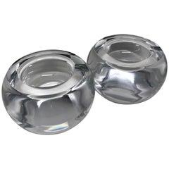 Pair of Chunky Crystal Ashtrays