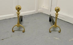 Pair of Chunky French Brass & Iron Andirons or Fire Dogs