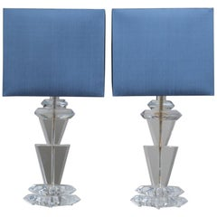 Pair of Chunky Sculptural Lucite Table Lamps by Van Teal, 1970s