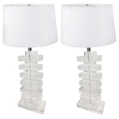 Pair of Chunky Stacked Geometric Lucite Lamps