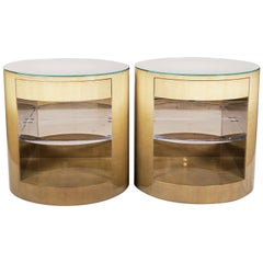 Pair of Cilindro Side Tables Designed by Sally Sirkin Lewis for J. Robert Scott
