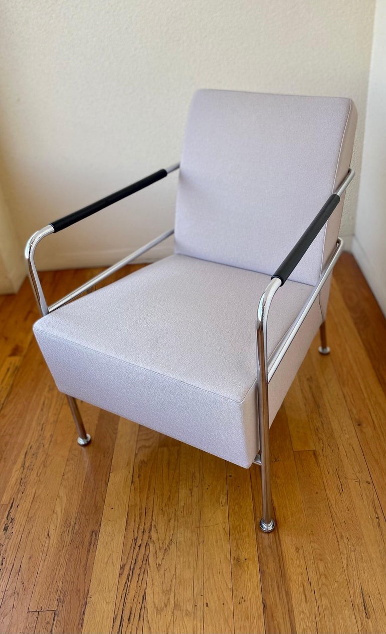 Beautiful pair of chrome armchairs with leather arms, in nice Millenial pink fabric the chairs are in great condition with some light wear. normal to age.