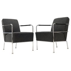 "Pair of ""Cinema"" Boiled Wool and Chrome Chairs by Gunilla Allard"