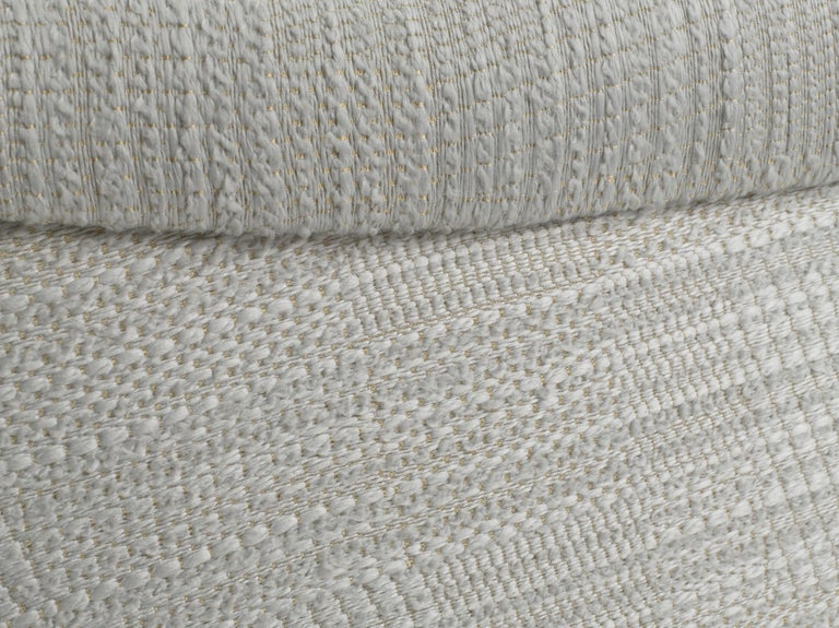 Pair of Cinova Midcentury Italian Chairs Reupholstered in Woven Fabric For Sale 7
