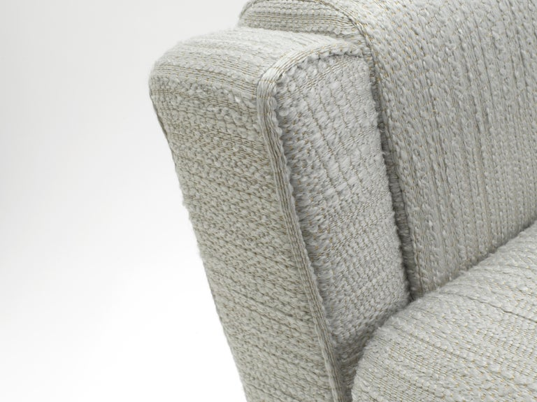 Pair of Cinova Midcentury Italian Chairs Reupholstered in Woven Fabric For Sale 8