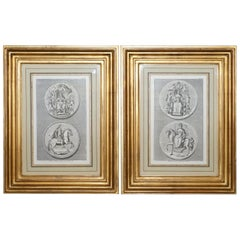 Pair of circa 1730 James Mynde Royal Seal Original Line Printed Prints Framed