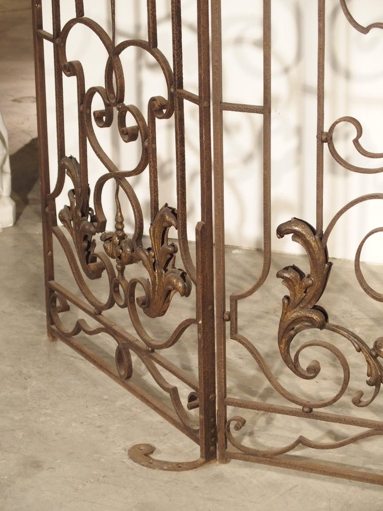 Gilt Pair of circa 1800 French Wrought Iron Gates For Sale